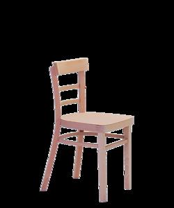 klasická jídelní židle z masivu Marona, tradiční český výrobce židlí Sádlík. Dřevěná židle, vybavení KD, kulturního domu, obecního sálu